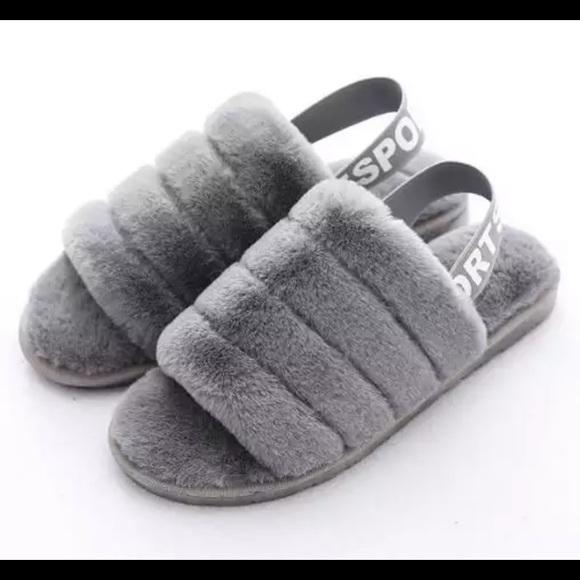 Shoes - ✨ NEW Super Trendy Fur Slip On Slippers-Sport Logo
